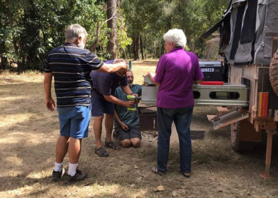 Kerryn joining the men's shed at Kalpower Crossing