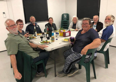 Enjoying a stone soup dinner in the comfort of the camp kitchen at Birdsville campground