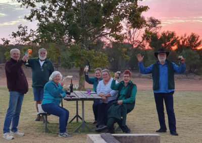 RQTs at sunset celebrating news of Blagdon's arrival in Canberra