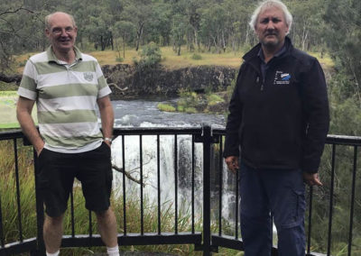 First of the waterfalls - David and Russell — at Millstream Falls, Qld