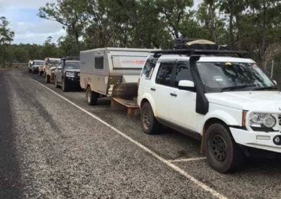 Part of the RQT convoy heading towards Merluna Station. Parked at an information bay on top of a jump up, Cape York, Qld