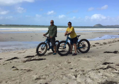 Getting those bikes out for a second ride — at Chilli Beach, Cape York, Qld